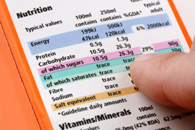 nutritional analysis label